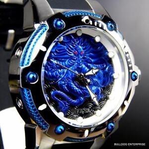 Mens-Invicta-Bolt-Dragon-Blue-Black-Silicone-Strap-52mm-Automatic-Watch-New
