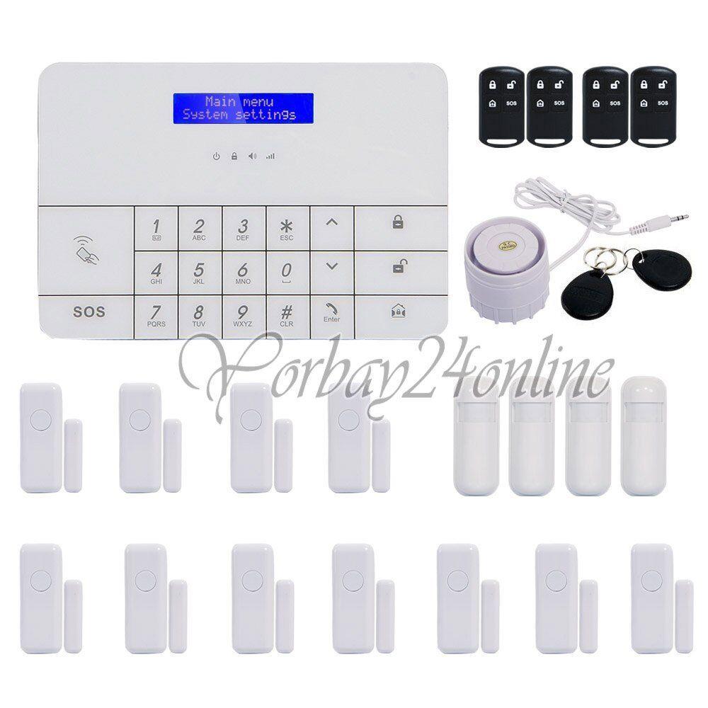 GSM Alarmanlage Funk Komplett Set Haus Touch LCD Anruf APP RFID Bewegungsmelder