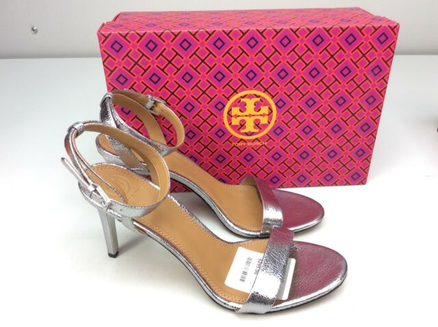 76f3d4171 Tory Burch Elana 85mm Sandal HEELS Pewter Size 10 Ankle Strap for ...