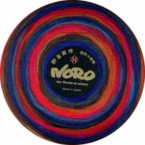 NORO 100/% unspun roving wool Blues-Reds-Hunter-Browns :Rainbow Roll #1024: