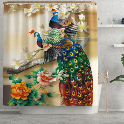 Peacock Printed Shower Curtain Bathroom Non Slip Toilet Polyester Cover Mat Set