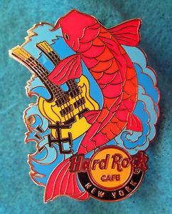 New-York-Ciudad-Koi-Fish-Serie-Doble-Cuello-Guitarra-Chaos-Hard-Rock-Cafe-Pin-Le