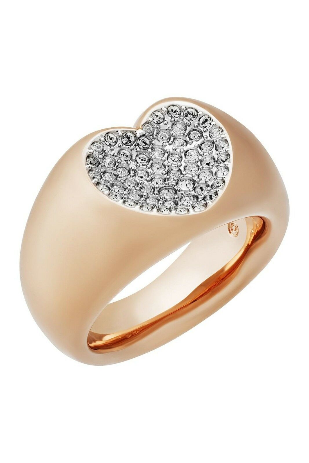 Swarovski pink gold plated ring inlaid heart in sparkling clear cryst