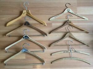 Details About Old Vtg Antique Wood Advertising Coat Hanger Bond Clothes Hotel Raleigh Lot Of 9