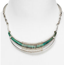 NWT Robert Lee Morris Soho Silver-Tone Wire-Wrapped Patina Crescent Necklace