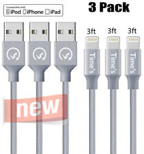 2 Pack 10 FT Lightning Cable Heavy Duty iPhone XP X 7 7p 6 Charger Charging Cord