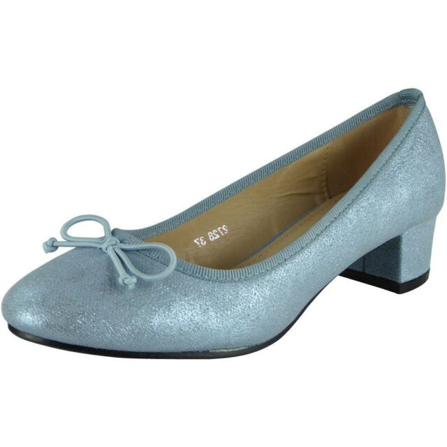 67e24c10c54 Womens Ladies Low Mid Heel Bow Comfy Office Work Casual Court Shoes ...
