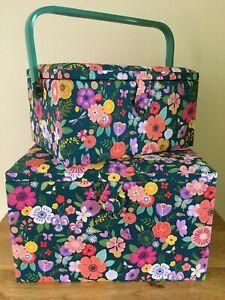 SEWING BASKET BOX /'Floral Garden/' Design Dark Green 2 SIZES Very Pretty QUALITY