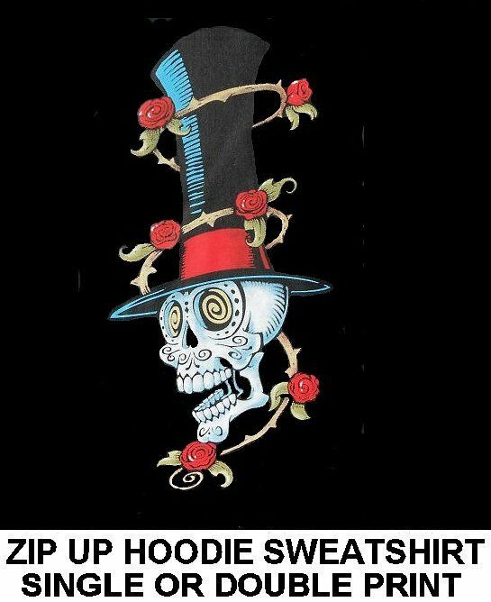 NIGHTMARE CHRISTMAS SKELETON DAY OF DEAD UNDERTAKER SKULL ZIP HOODIE SWEATSHIRT