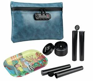 Smell-proof-bag-kit-Carbon-lined-case-Herb-grinder-doob-tubes-rolling-tray