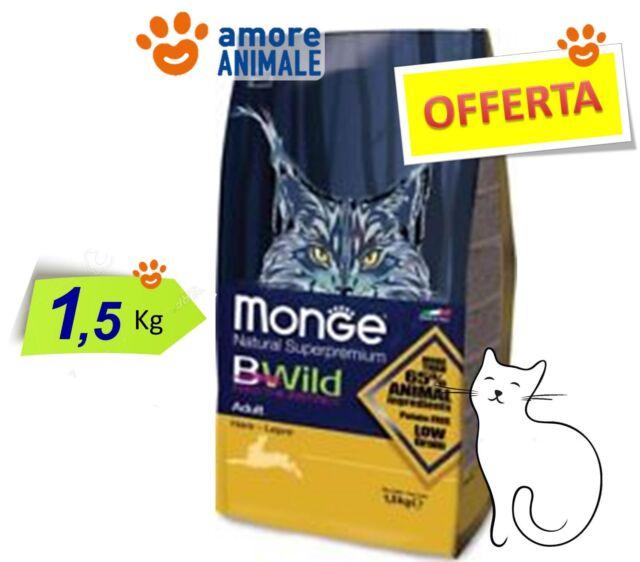 Monge Cat BWild Adult con Lepre 1,5 kg - Crocchette Gatto, cibo per Gatti adulti