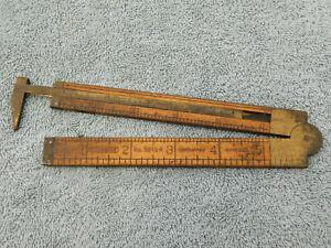 Vintage STANLEY No. 36 1/2 R Boxwood & Brass Folding Caliper Rule