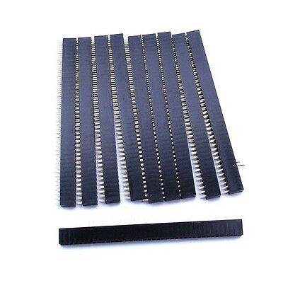 10Pcs 2.54mm 40 Pin Female Single Row Pin Header Strip New