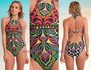 3e598cd5bce $152 Trina Turk Africana Print High Neck Halter One Piece Swimsuit ...