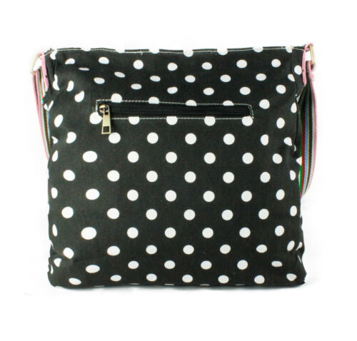 Ladies Polka Dot Canvas Shoulder Handbag Multicoloured Strap Girls Messenger Bag