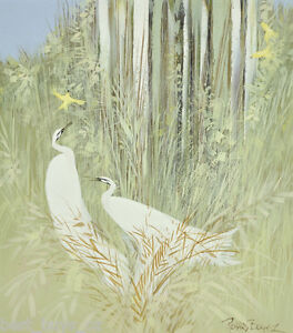 Large-Richard-Bogusz-Wild-Canaries-with-Egrets-Oil-on-Board-44-x-39cm