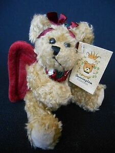 """BEARINGTON COLLECTION ANGEL BEAR BURGUNDY WINGS  """"GABRIELLE""""  6"""" JOINTED NWT"""
