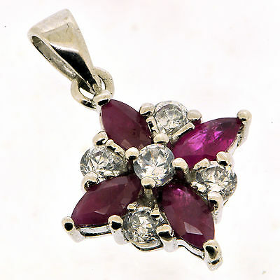 .925 Sterling Silver 0.60 Ct Natural Red Ruby & CZ Elegant Pendant