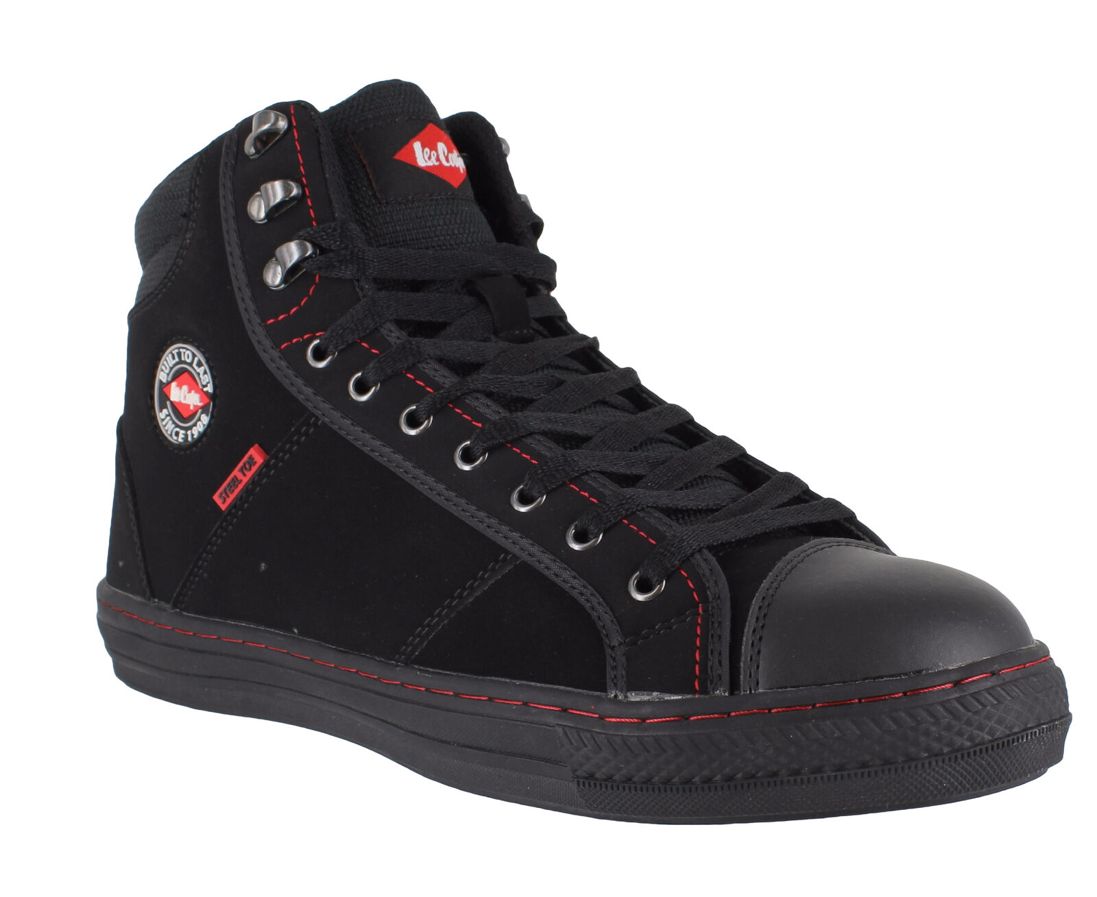 Lee Cooper 022 Unisex Black SB Steel Toe Safety Retro Style High Hi Tops Boots