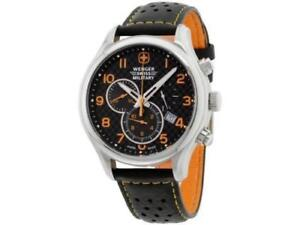 Wenger-Swiss-Army-Military-Black-Dial-Men-039-s-Leather-Watch-79304-C-Chrono