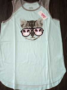 Girls-justice-glitter-kitty-tank-size-8-new