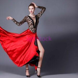 Womens Latin Paso Doble Cloak Performance Costume Dance Dress Skirts Red One Sz