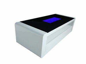 Details About Matrix High Gloss Coffee Table White Black Gloss With Blue Led Lighting