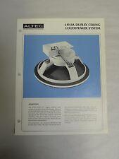 Vintage Original Altec 619-8A Duplex Ceiling Speaker Specification Sheet (A3)