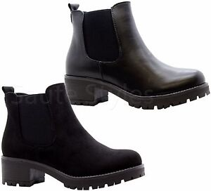 Ladies-Womens-Block-Chunky-Heels-Chelsea-Ankle-Boots-Grip-Sole-Office-Shoes-Size