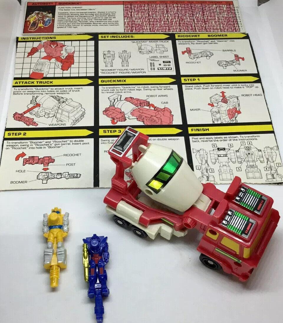 Quickmix G1 Transformers MINT 100% Complete 1988 Hasbro Takara + Specs + Instr