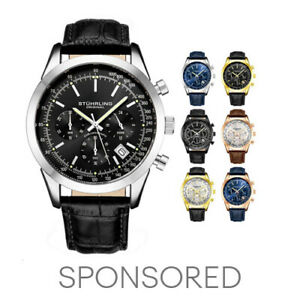 Stuhrling Men's 3975L Japanese Quartz Chronograph Date Watch Genuine leather