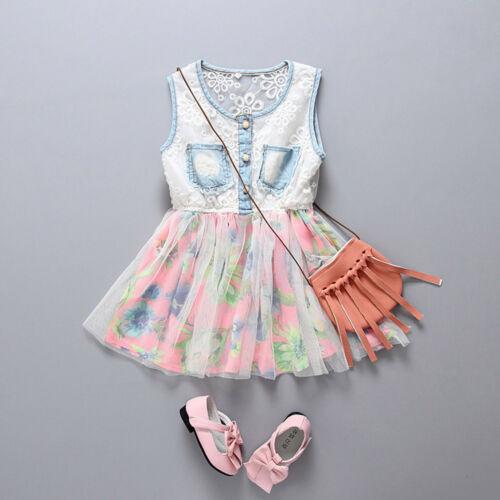 Toddler Kids Baby Girls Denim Tulle Party Pageant Ball Tutu Princess Dresses UK