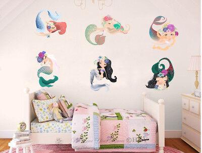 6 Pcs Mermaid Girls Wall Stickers Nursery Decor Kids Vinyl Decal Art Mural Gift