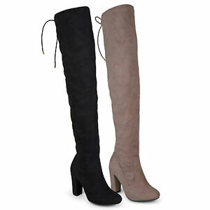 ad3f16aaae3d Brinley Co Womens Over the knee High Heel Regular and Wide Calf ...