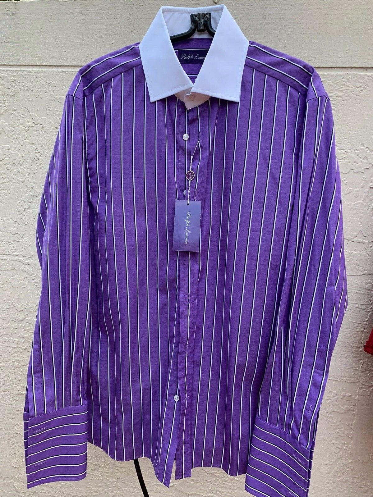 NWT  450 RALPH LAUREN PURPLE LABEL STRIPE WHITE COLLAR FRENCH CUFF SHIRT SZ 15.5