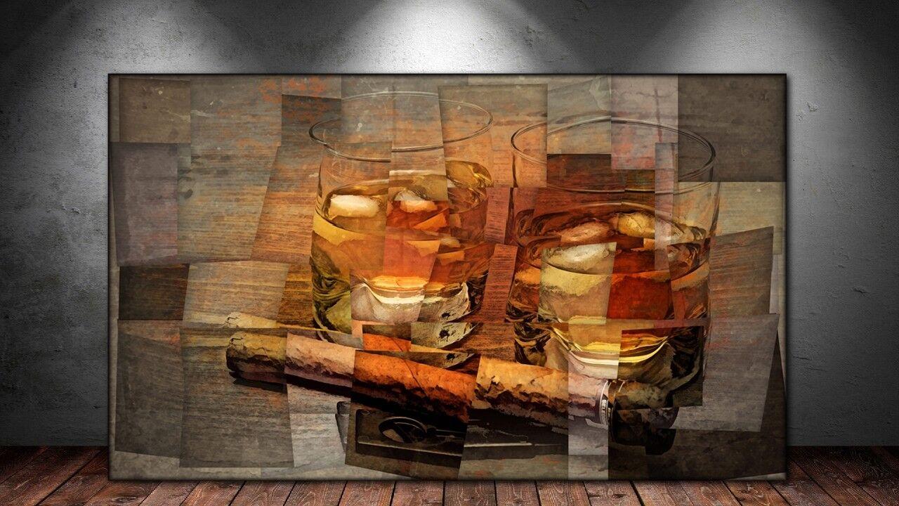 LEINWAND BILD ER XXL POP ART WHISKY GLAS ZIGARRE KUBISMUS WHISKEY WAND POSTER