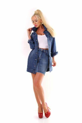 4428 Damen Jeansjacke Damenjacke Lange Jacke leichter Jeans-Parka Denim Regular