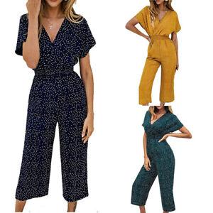 Women Boho Polka Dot V Neck Holiday Long Playsuit Romper Wide Leg Party Jumpsuit