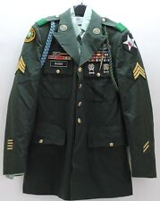 US Army Mens Green Coat 4 pocket size 42L TouJours Pret SGT 2nd Div ribbons M038