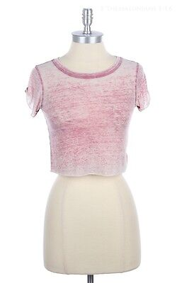 Girl's Burnout Short Sleeve Cropped Top Casual Round Neck Cute Stylish S M L