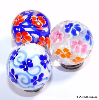 Set of 3 x 22mm Flower Handmade Glass Toy Marbles - Marble Collectors Selection
