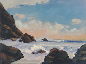 NORTHWEST-USA-Original-Seascape-Ocean-Expression-Oil-Painting-18x24-080417-KEN