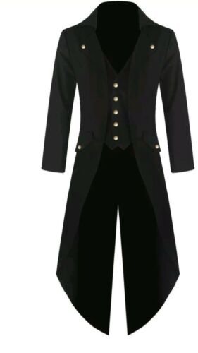 Men/'s Black Handmade Steampunk Tailcoat Jacket Gothic Victorian Coat S-6XL