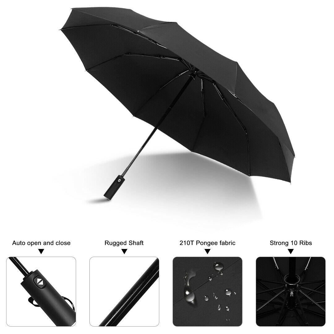 Men&Women Stormproof Automatic Strong Folding Windproof 10 Ribs Black Umbrella