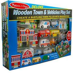 Details About Melissa Doug 40 Piece Deluxe Wooden Town Vehicles Play Set Uk
