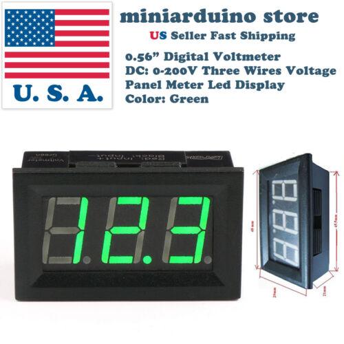 """0.56/"""" 3 wire DC 4-30V//0-200V GREEN LED digital voltmeter module panel meter"""