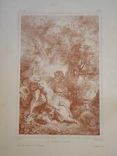 D'AP. F. BOUCHER 1703-1770 LITHO XIX° SANGUINE SCENE AMOUR ROMANTIQUE ROCOCO a