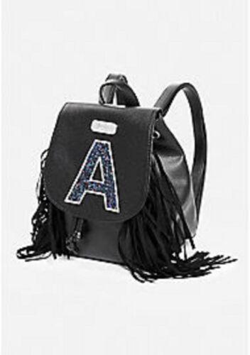 NWT Justice Girls Black Initial A J L Fringe Mini Rucksack Backpack