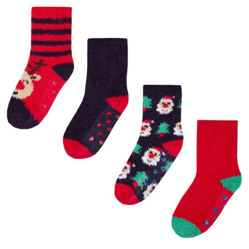 2 Pairs of Kids Cosy Socks Christmas Santa Slipper Socks Gripper Stocking Filler