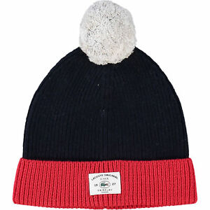 3948fca8d6 LACOSTE Kids' Boys' Navy/Red Knitted Bobble Hat, S/4-5y M/6-9y | eBay